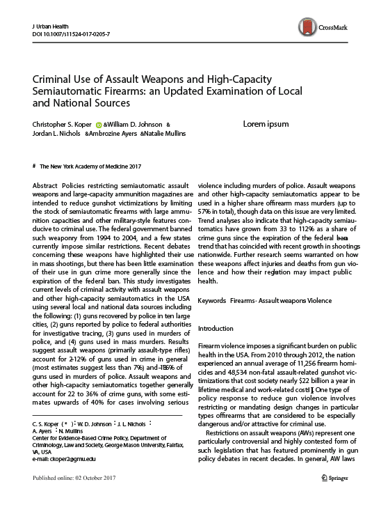 Criminal Use of Assault Weapons and High-Capacity Semiautomatic Firearms_ an Updated Examination of Local and National Sources, Journal of Urban Health.2-01-01