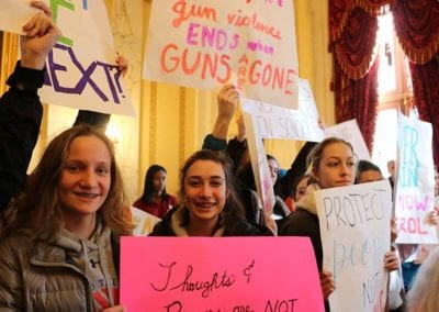 2 - MAR 2018 RICAGV joined over 1,000 RI students who walked out of schools to rally for gun safety at the State House
