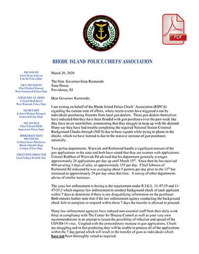 RI Police Chiefs Assoc. Letter on Gun Sales Spike COVID-19 - March 2020