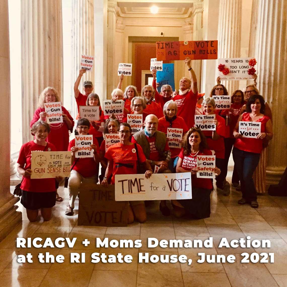 CGVPRI supporters demand votes on gun safety bills, June 2021 at RI State House
